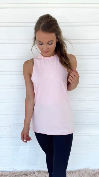 Gabby Gathered Back Tank- Ballet Pink