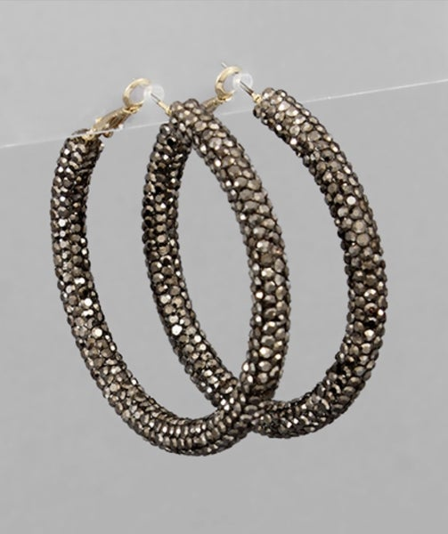 All That Shimmers Hoop Earrings- Dark Silver