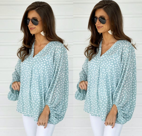Sophie Spotted Top- Mint