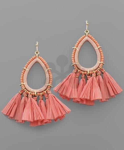 Peach Raffia Earrings