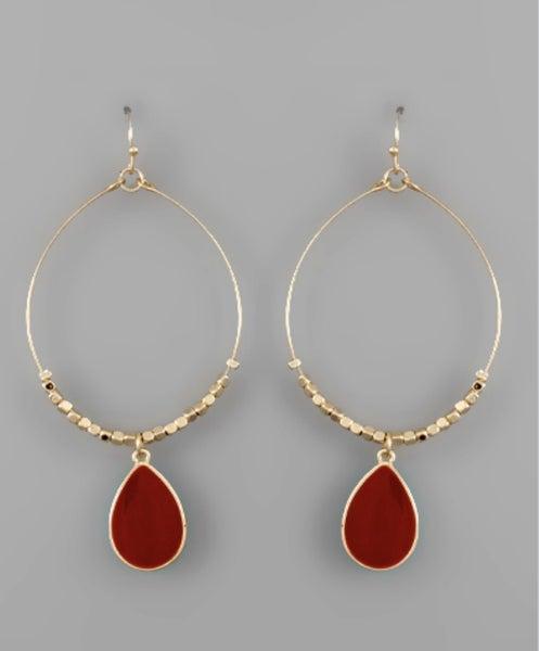 Tessa Teardrop Circle Earrings- Red