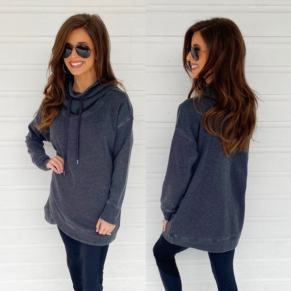 Charcoal Cowl Neck Pullover
