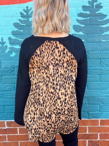 Feeling Wild Leopard Top- Black *Final Sale*