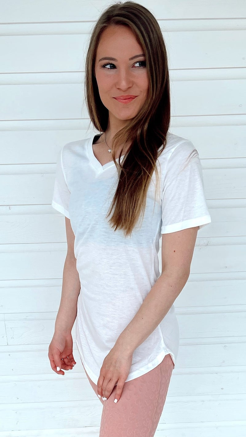 Be Solid White V Neck Ttee