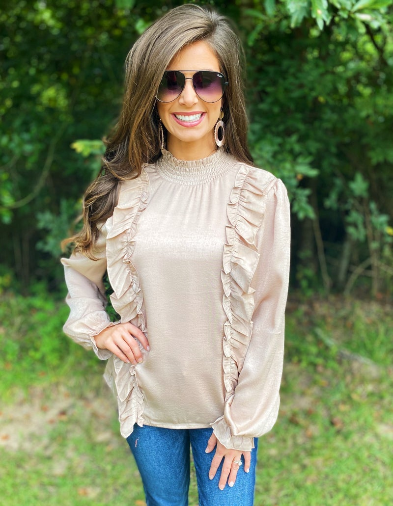 Champagne Satin Ruffle Top