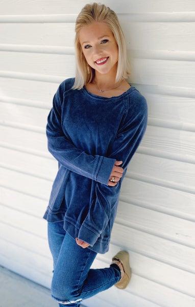 Slate Blue velvet sweater