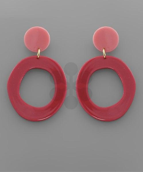 Fuchsia Twotone Circle & Disc Earrings
