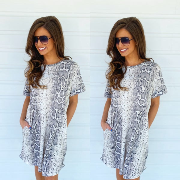 Soaking Up The Sun Snake Print Dress