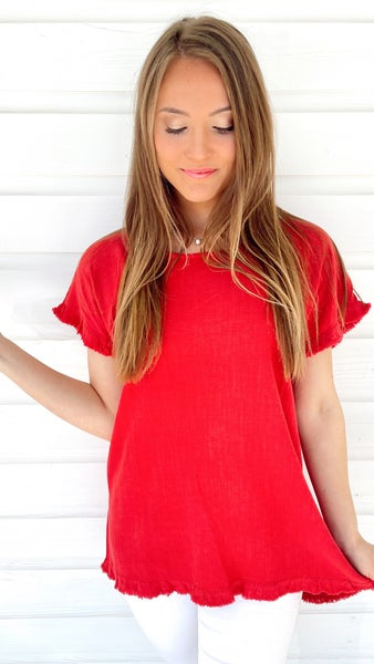 Jester Red Frayed Hem Top