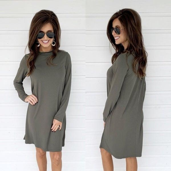 Ribbed Mock Neck Dress- Olive
