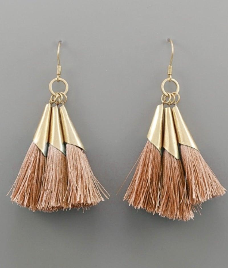 Dainty Blush & Gold Tassel Earrings