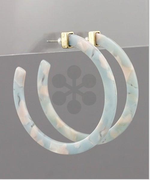 Plaza Stroll Acrylic Hoop Earrings- aqua/multi