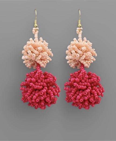 It's Party Time Fuchsia PomPom Earrings