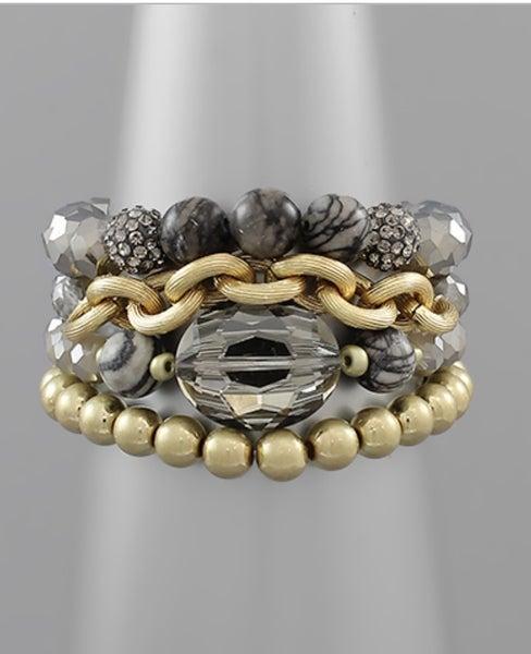 Grey & Gold Multi Bead Bracelet