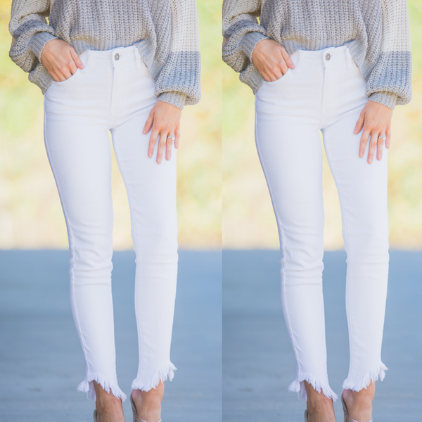 Kassidy White Skinnies with Frayed Hem