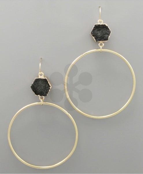 Black & Gold Druzy Earrings