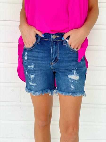 Claire Dark Denim Shorts
