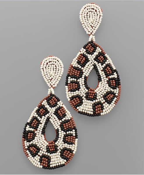Every Moment Leaopard Beaded Earrings