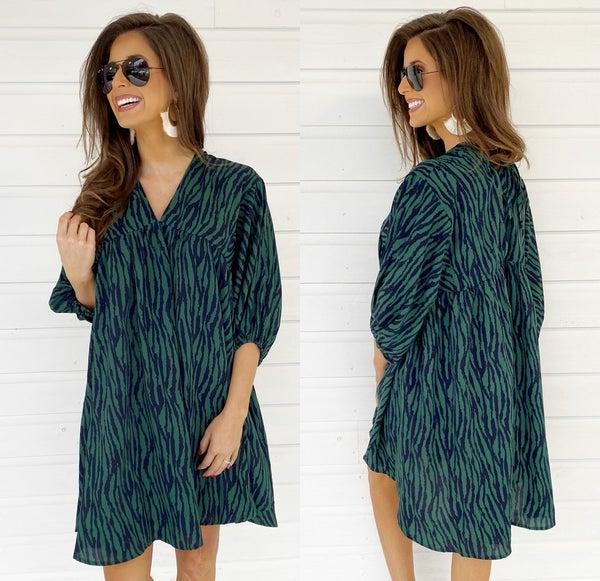Hunter Green Zebra Print Dress