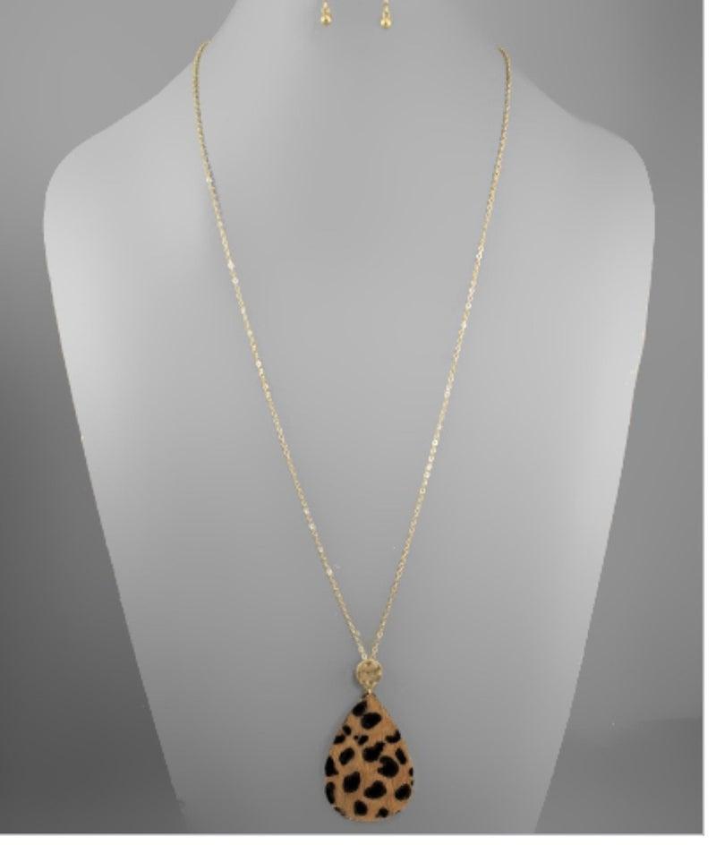 Cheetah Teardrop Necklace