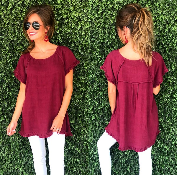 Maroon Frayed Hem Top