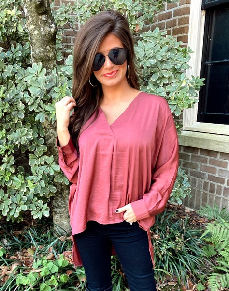 Anywhere with You Satin Top-Marsala