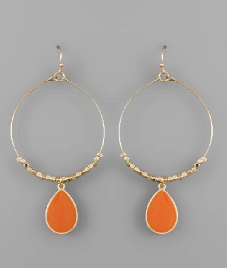Tessa Teardrop Circle Earrings- Orange