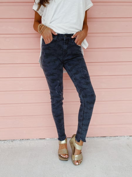 Charcoal Distressed Camo Skinnies