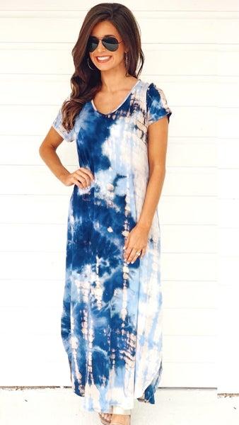 Tessa Blue Tie Dye Dress