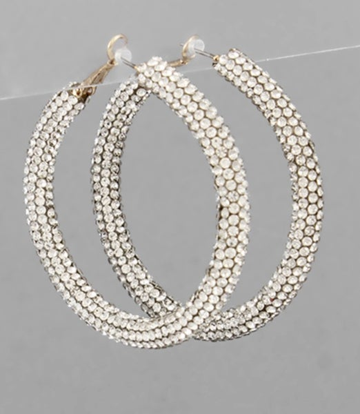 All That Shimmers Hoop Earrings- Silver