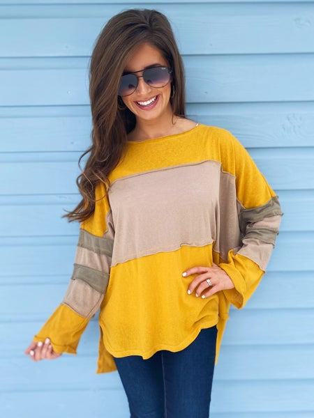 Marie Mustard Color Block Top