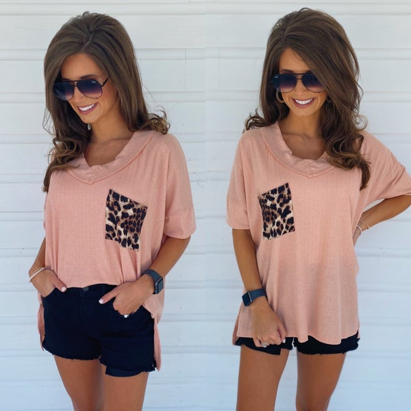 Peach & Leopard Pocket Top
