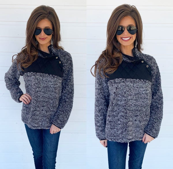 Black & Grey Button Sherpa Pullover