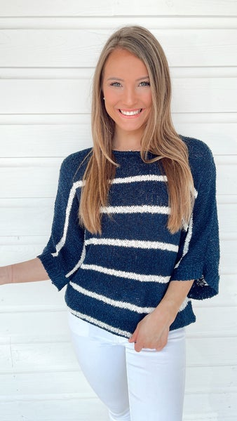 Nautical Nights Navy Striped Sweater