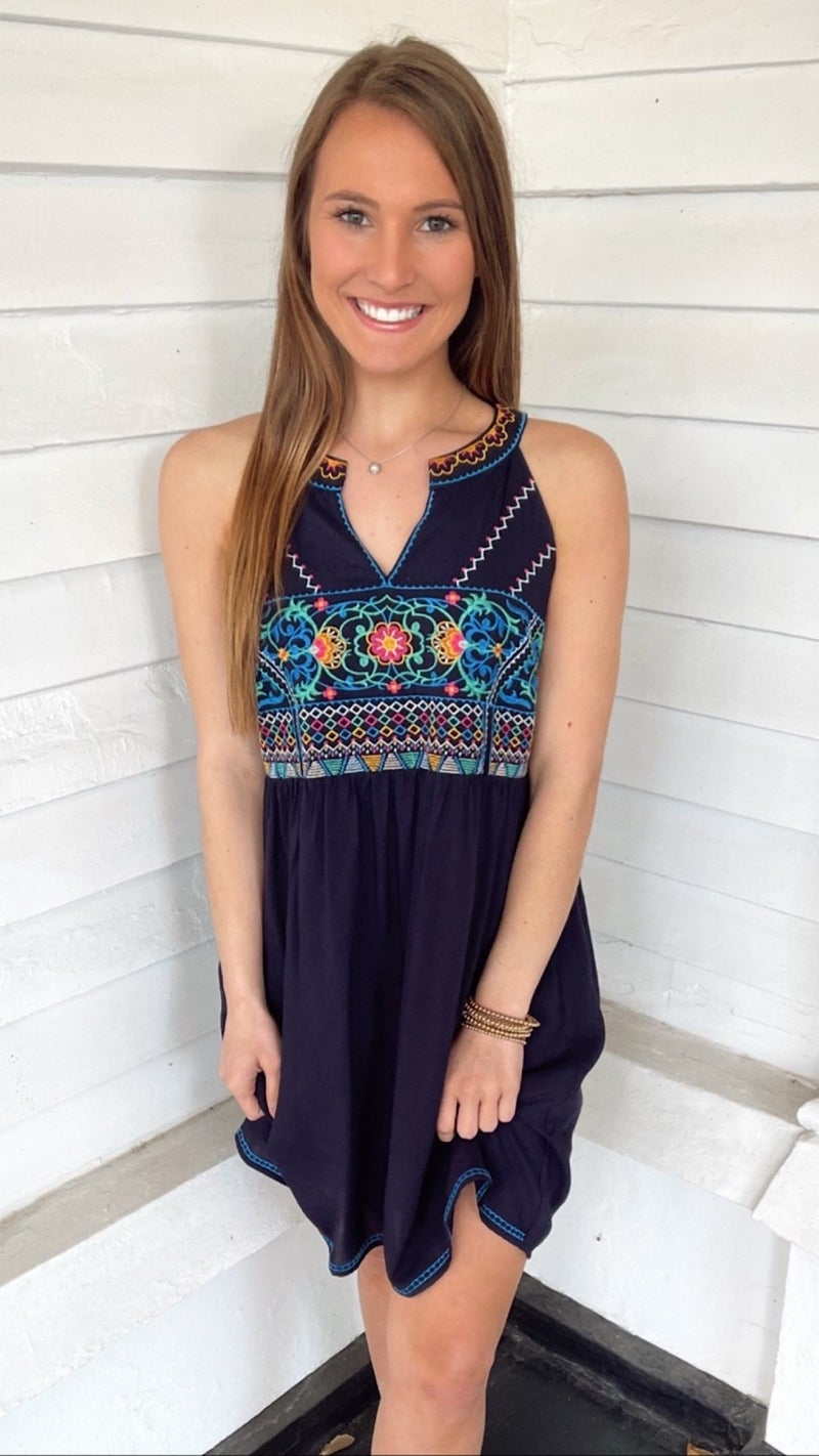 Navy Nights Embroidered Dress