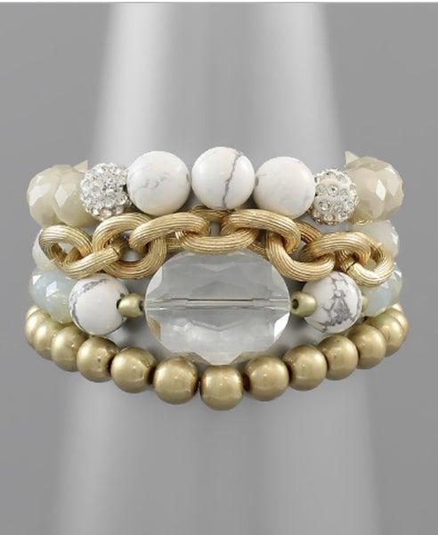 Ivory & Gold Multi Bead Bracelet
