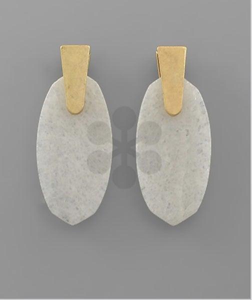 Hexagon Stone Earrings-white
