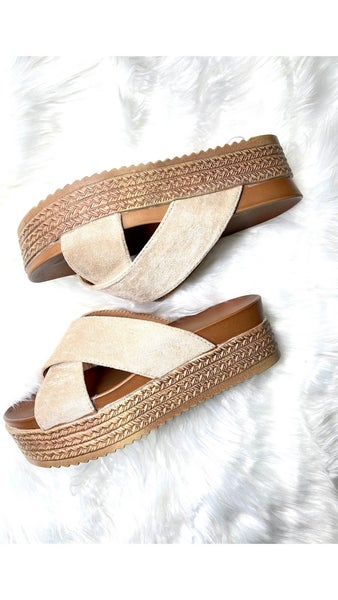 Pedicure Ready Beige Strap Platforms
