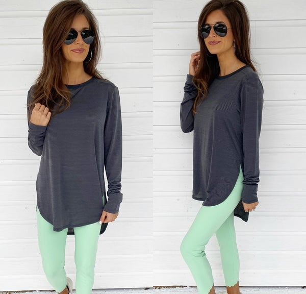 Dark Grey Ribbed Long Sleeve Top