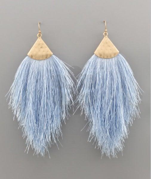 Periwinkle & Gold Tassel Earrings