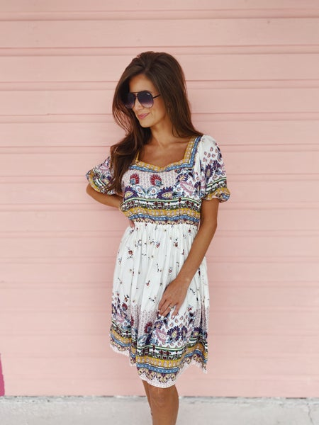 Isla Ivory Printed Dress