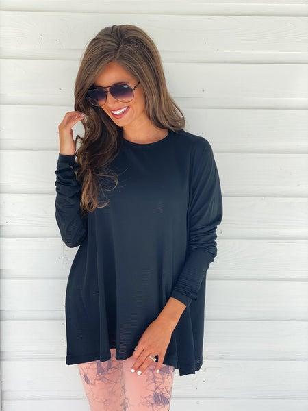 Black Mesh Long Sleeve Top