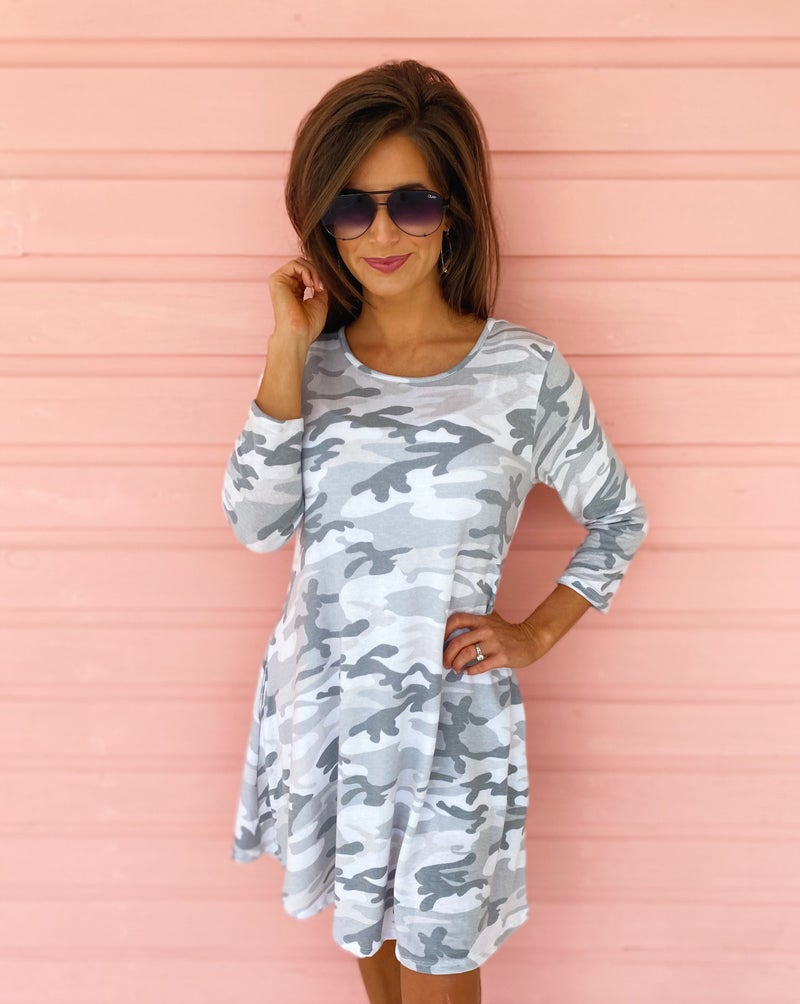 On The Hunt Grey Camo Dress