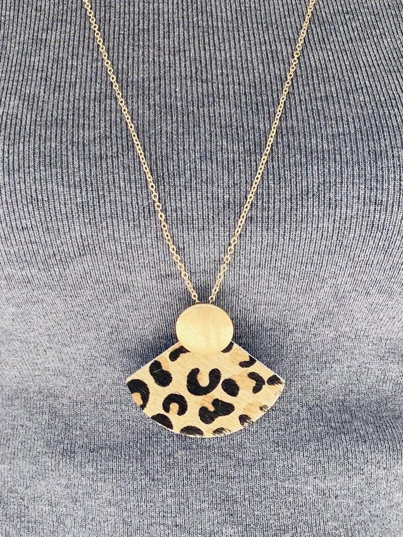 Live Loud Leopard Cowhide Fan Necklace