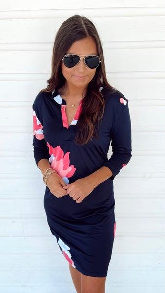 Naomi Navy Floral Dress