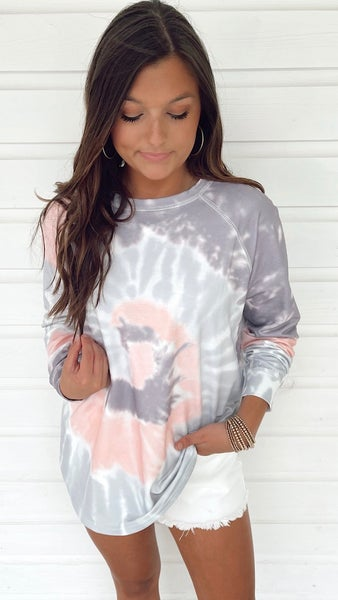 Amelia Tie Dye Top- Grey