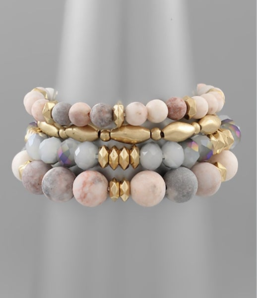 Rosie Gold & Grey Beaded Bracelet
