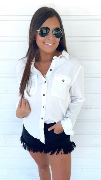 Diva in White Button Down Shirt