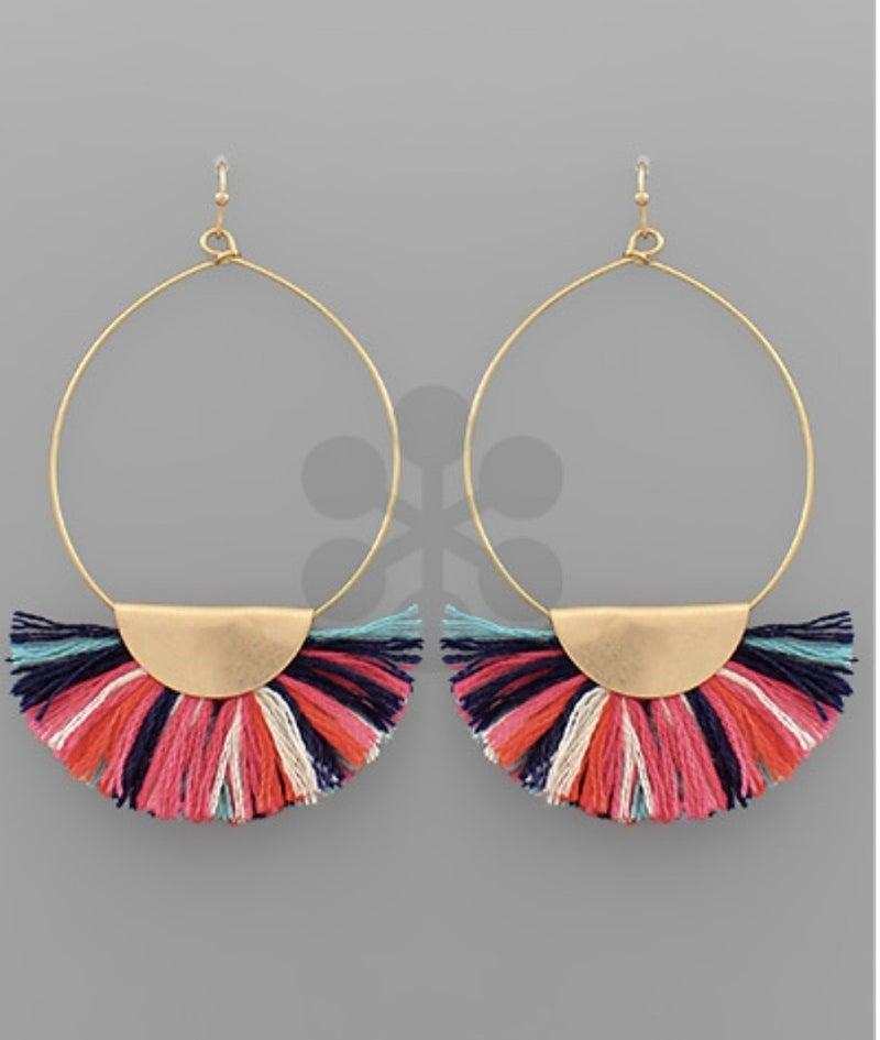 Coco Wedge Tassel Circle Earrings