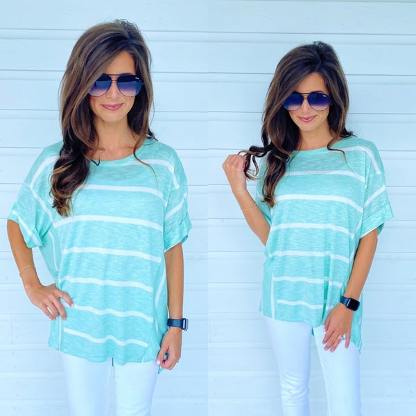 Mint Mix & Match Striped Top